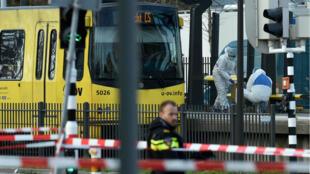 Les lieux de la fusillade à Utrecht lundi 18mars.