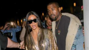 Kim Kardashian et son époux Kanye West le 29 septembre dernier à Paris, lors du défilé Balmain.