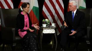El vicepresidente estadounidense, presionó a la líder de Myanmar, Aung San Suu Kyi, para que libere a los periodistas el 14 de noviembre de 2018.