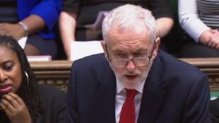 Jeremy Corbyn face au Parlement britannique le 30 janvier 2019.