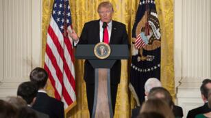 Le président américain Donald Trump, lors d'une conférence de presse à Washington, le 16 février 2017.