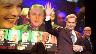 Sauli Niinisto peu après l'annonce des résultats annonçant sa réélection, le 28 janvier 2018, à Helsinki.