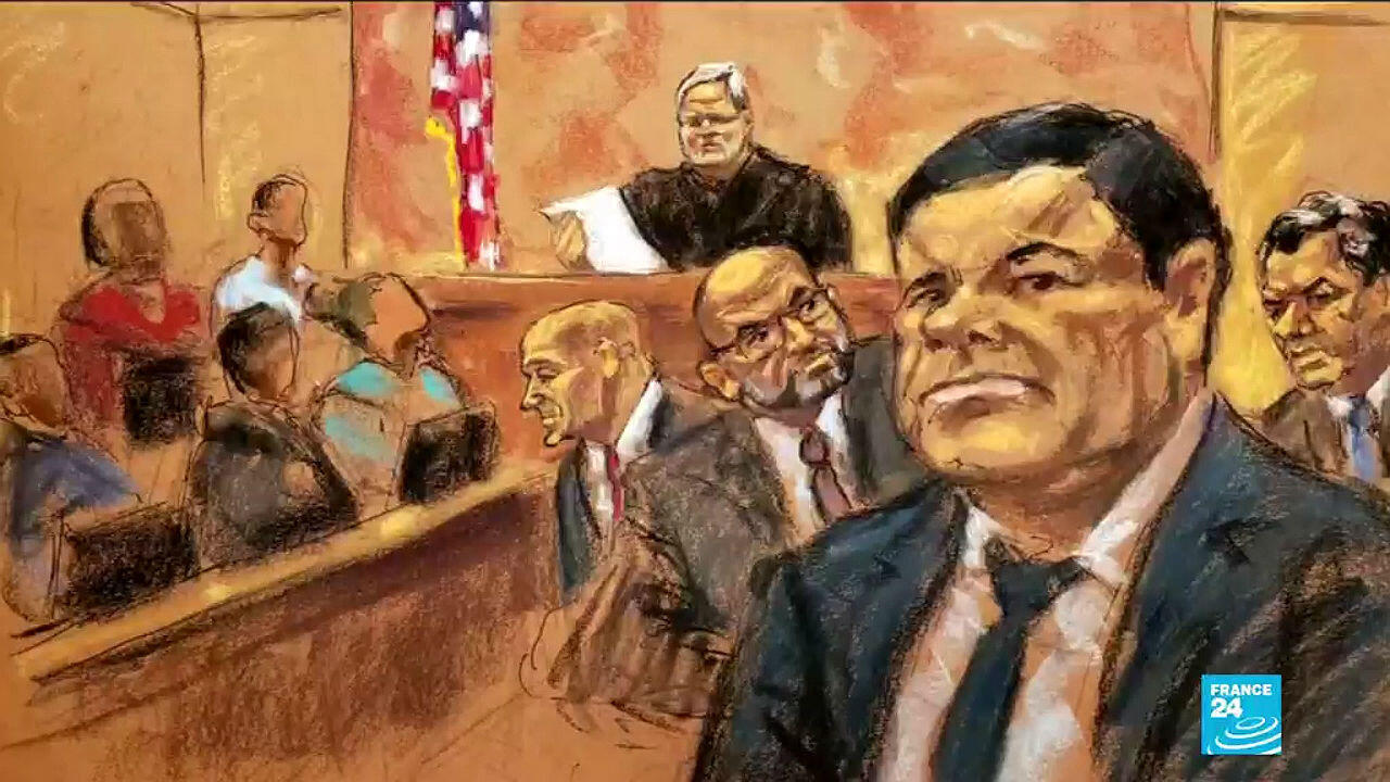 A drawing of the trial of 'El Chapo' Guzmán in the US in 2019, in which he was sentenced to life imprisonment.