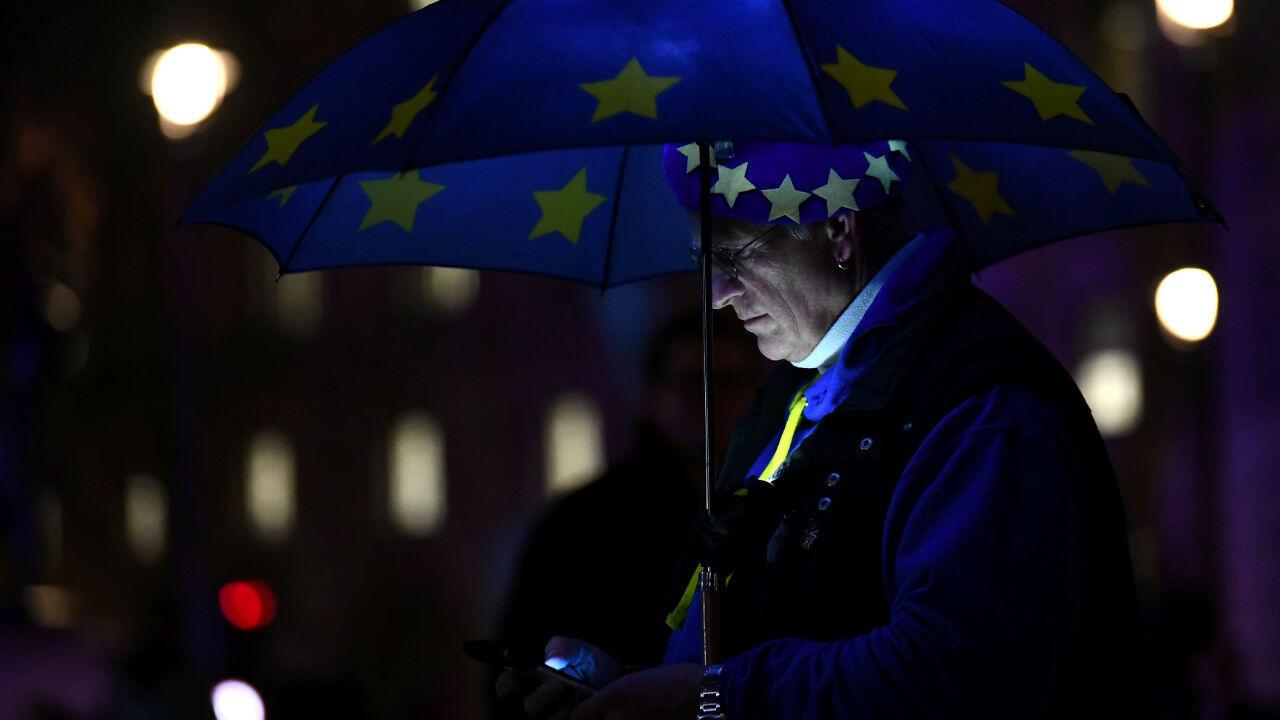 Un manifestante contra el Brexit ante una de las Cámaras del Parlamento, antes de una votación sobre el acuerdo en Londres, Gran Bretaña, el 15 de enero de 2019.