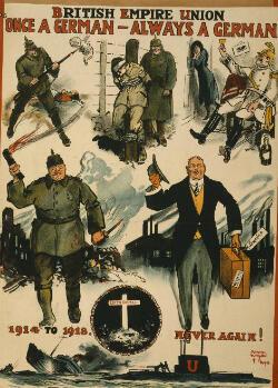 """Une affiche britannique antiallemande. La tombe d'Edith Cavell est représentée près de la mention """"1914-1918 plus jamais!"""""""