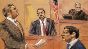 El abogado defensor Jeffrey Lichtman (izquierda) pregunta al agente del FBI Paul Roberts (centro) en el estrado de testigos durante el juicio del narcotraficante mexicano Joaquin 'El Chapo' Guzmán (derecha) en el tribunal federal de Brooklyn en la ciudad de Nueva York, Estados Unidos, el 29 de enero de 2019.