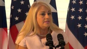 La secretaria de Justicia, Wanda Vázquez, durante una conferencia de prensa en San Juan, Puerto Rico.