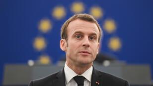 Emmanuel Macron s'adresse aux députés européens, le 17 avril 2018 à Strasbourg.