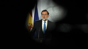 Mariano Rajoy, asiste a una conferencia de prensa en el Palacio de la Moncloa en Madrid, el 22 de diciembre de 2017