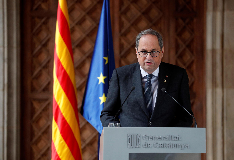 The leader of Catalonia's regional government Quim Torra delivers a statement at Palau de la Generalitat in Barcelona, Spain, December 19, 2019.