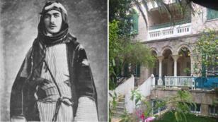 Farid al-Imam en 1928 (à gauche), la maison des Imam dans le quartier de Baq'aa en 2018.