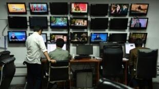 غرفة الأخبار في شبكة تولو التلفزيونية في كابول في 11 أيلول/سبتمبر 2018