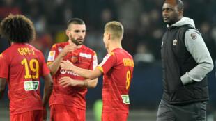 Les joueurs du Mans FC, ici contre l'OGC Nice de Patrick Vieira en Coupe de la Ligue, le 30 octobre 2019 à la MMArena, militent pour leur maintien en Ligue 2