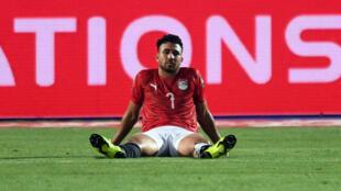 """Mahmoud """"Trezeguet"""" Hassan, le 6 juillet 2019, après la défaite de l'Égypte en huitième de finale de la CAN-2019."""