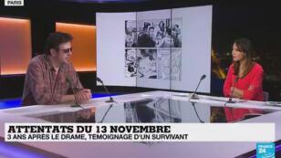 Fred Dewilde, rescapé de l'attaque du Bataclan du 13 novembre 2015, sur le plateau de France 24, le 12 novembre 2018.