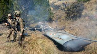 حطام طائرة هليكوبتر هندية سقطت في كشمير 27 فبراير/شباط 2019