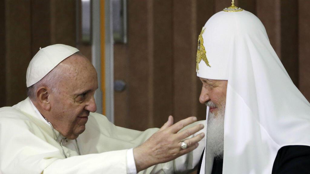 Le pape François avec le patriarche orthodoxe russe Kirill à La Havane, le 12 février 2016.