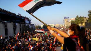Manifestantes en Bagdad, 1 de noviembre de 2019.