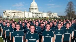 The Avaaz rights group placed cardboard cutouts of Facebook founder and CEO Mark Zuckerberg outside the US Capitol in Washington last year, calling attention to what they say are many millions of fake accounts spreading disinformation on Facebook