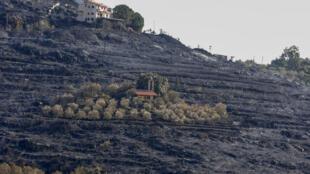 صورة التقطت في 11 تشرين الأول/أكتوبر 2020، تظهر كنيسة في وسط تل محترق بسبب حرائق الغابات في ريف مدينة طرطوس غرب سوريا