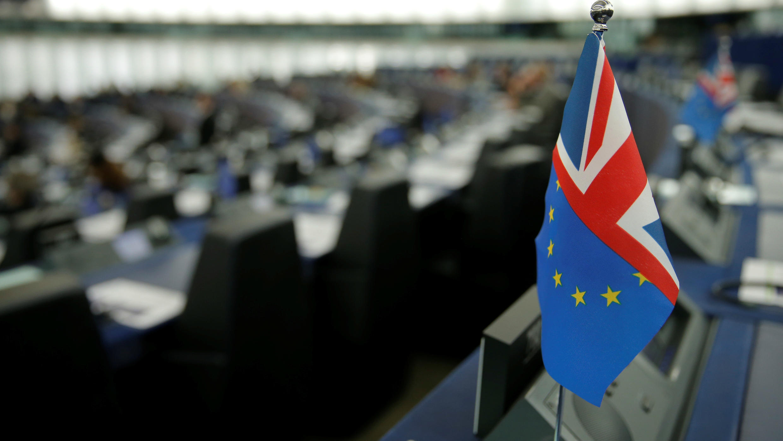 Drapeau hybride de l'Union européenne et de l'Union Jack, au parlement européen de Strasbourg.