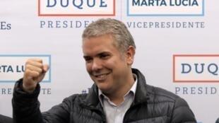 Iván Duque, durante un evento de campaña en Bogotá, el 12 de junio de 2018.
