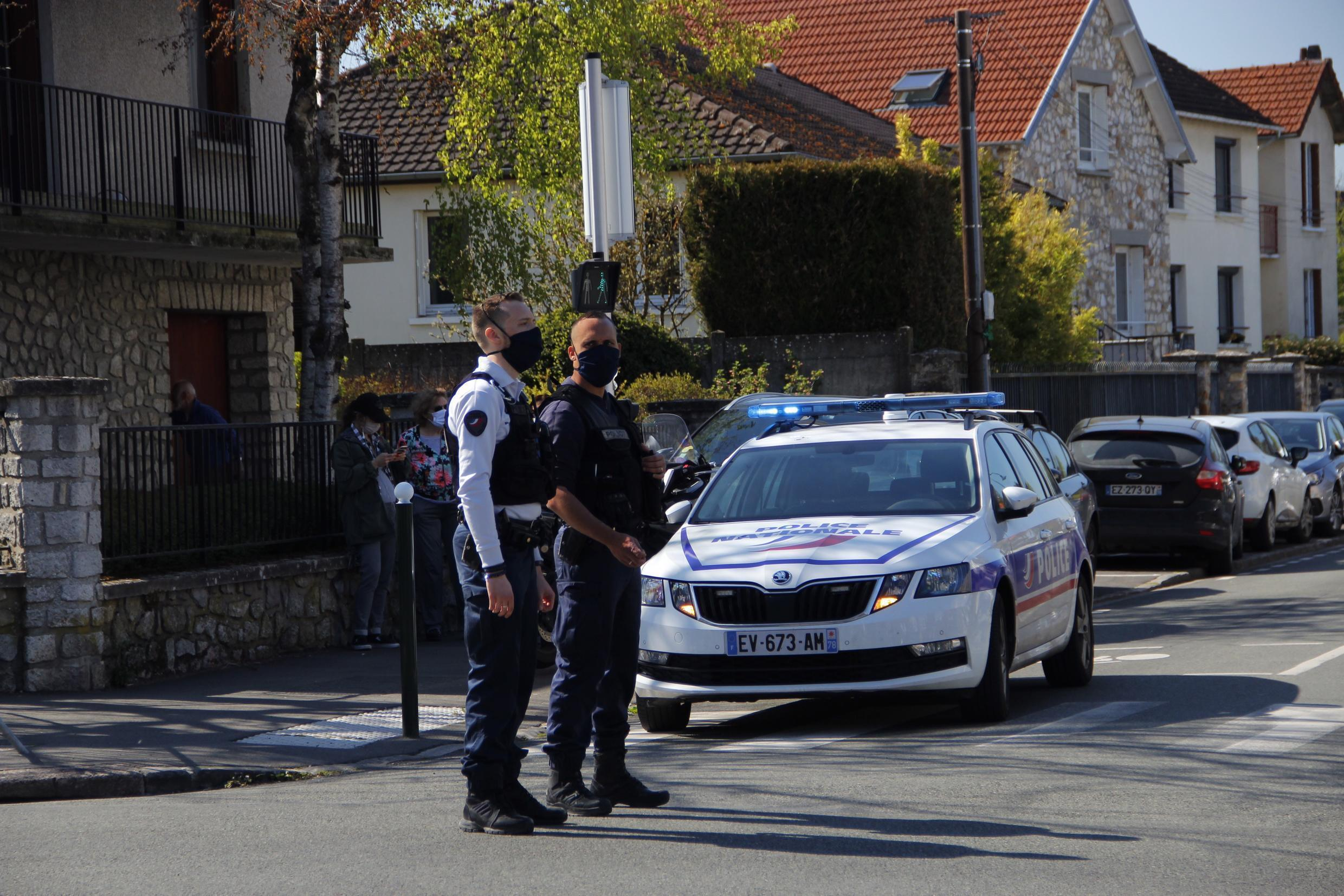 French police in Rambouillet, just outside of Paris, where a policewoman was fatally stabbed on April 23, 2021.
