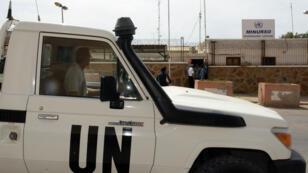 Un véhicule de l'ONU en mai 2013 à Lâayoune au Sahara occidental.
