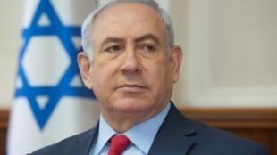 رئيس الوزراء الإسرائيلي بنيامين نتانياهو خلال ترؤسه الاجتماع الأسبوعي للحكومة في الأول من تشرين الأول/أكتوبر 2017