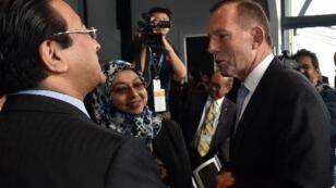 رئيس الوزراء الأسترالي توني أبوت يتحدث إلى الوفود المشاركة في القمة الخميس 11 حزيران/ يونيو 2015