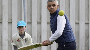 London Mayor Sadiq Khan, seen here on a campaign visit to Kingstonian Cricket Club last month, could win another term in office