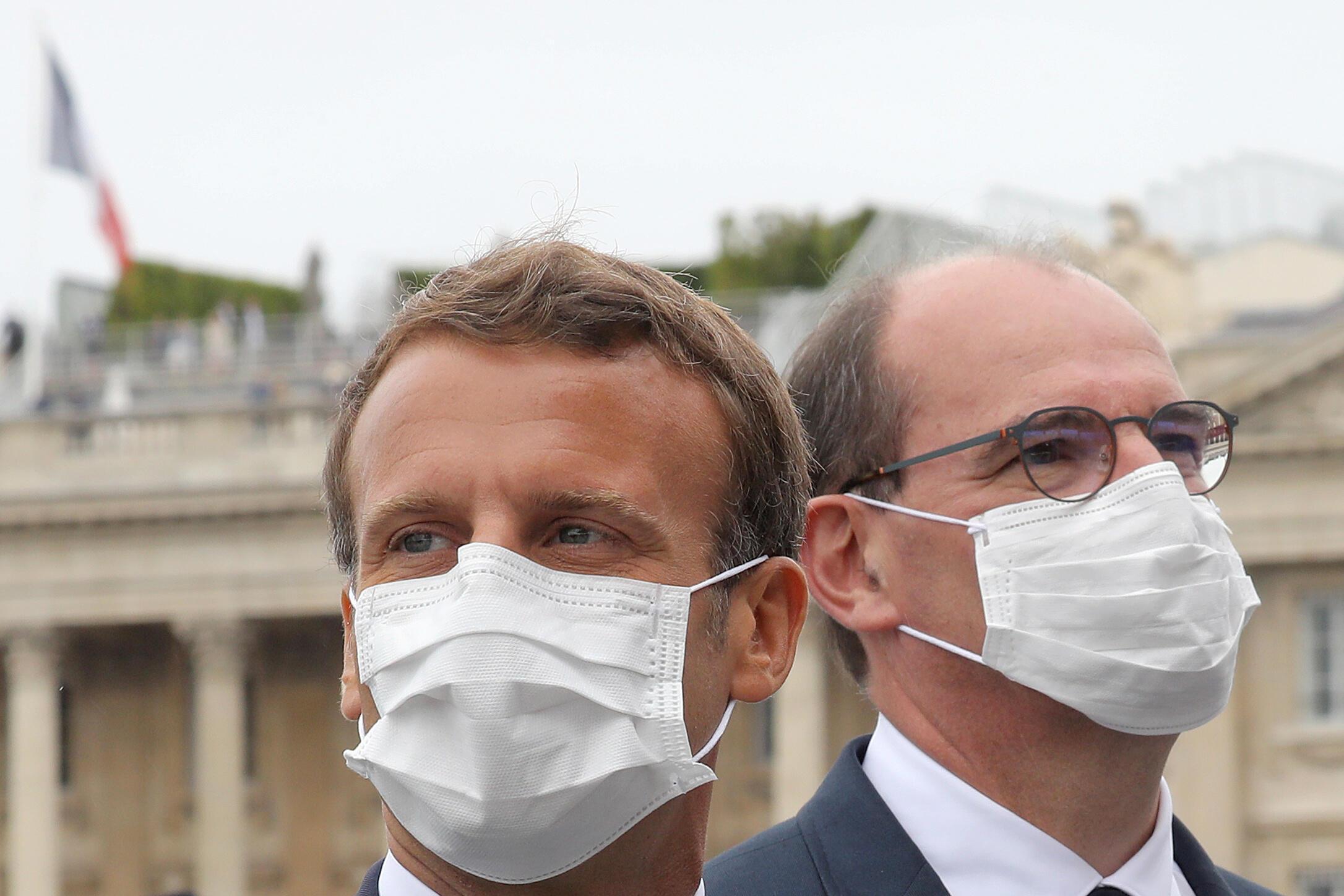 Emmanuel Macron et Jean Castex sur la place de la Concorde à Paris le 14 juillet 2020.