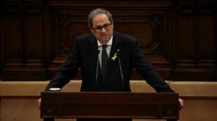 El presidente de Cataluña, Quim Torra, durante su discurso de investidura en el Parlamento Catalán, Barcelona, España, 14 de marzo de 2018