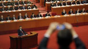 Le président Xi Jinping lors de son discours d'ouverture du 19e Congrès national du Parti communiste de Chine, le 18 octobre 2017.