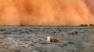 This handout photo taken on January 17, 2020 and received on January 20 courtesy of Marcia Macmillan shows a child running towards a dust storm in Mullengudgery in New South Wales. - Dust storms hit many parts of Australia's western New South Wales as a prolonged drought continues. (Photo by Handout / Courtesy of Marcia Macmillan / AFP) /