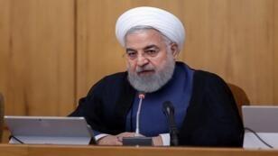 الرئيس الإيراني حسن روحاني خلال اجتماع مجلس الوزراء في طهران، إيران، 14 أغسطس/آب 2019.