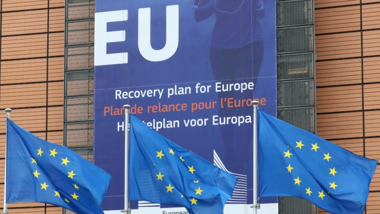 European Union flags flutter outside the European Commission headquarters, ahead of an EU leaders summit at the European Council headquarters, in Brussels, Belgium July 16, 2020.