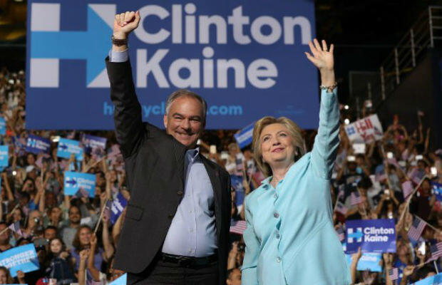 Democratic presidential nominee Hillary Clinton and running mate Tim Kaine at a Florida rally in July 2016