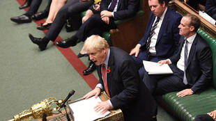 Britain's Prime Minister Boris Johnson speaks in the House of Commons in London on October 29, 2019, during a debate on the Early Parliamentary General Election Bill