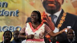 Simone Gbagbo lors d'un des meetings tenus par son mari en janvier 2011.
