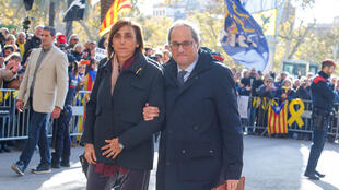 Catalan regional leader Quim Torra and his wife Carola Miro leave the High Court of Justice of Catalonia in Barcelona, Spain, November 18, 2019.