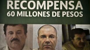 """ملصق عليه صورة مهرب المخدرات المكسيكي الشهير """"ال تشابو"""" غوزمان"""