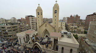 L'église Mar Girgis de Tanta après une explosion à la bombe ayant fait au moins 28 victimes, le 9 avril 2017.