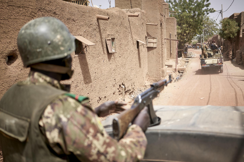 Malian army on patrol in the central Malian village of Djenne on February 28 2020.