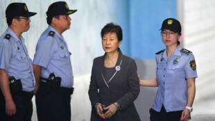 L'ex-présidente sud-coréenne Park Geun-hye lors de son procès à Séoul, le 7 août 2017.