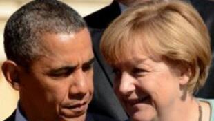 المستشارة الألمانية أنغيلا ميركل والرئيس الأمريكي باراك أوباما