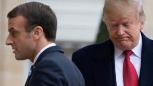 ترامب مع ماكرون قبل لقائها في قصر الإليزيه في باريس في 10 تشرين الثاني/نوفمبر.