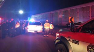Servicios de emergencia acuden al sitio de una colisión de trenes cerca de Pine Ridge, Condado de Lexington, Carolina del Sur, EE. UU.