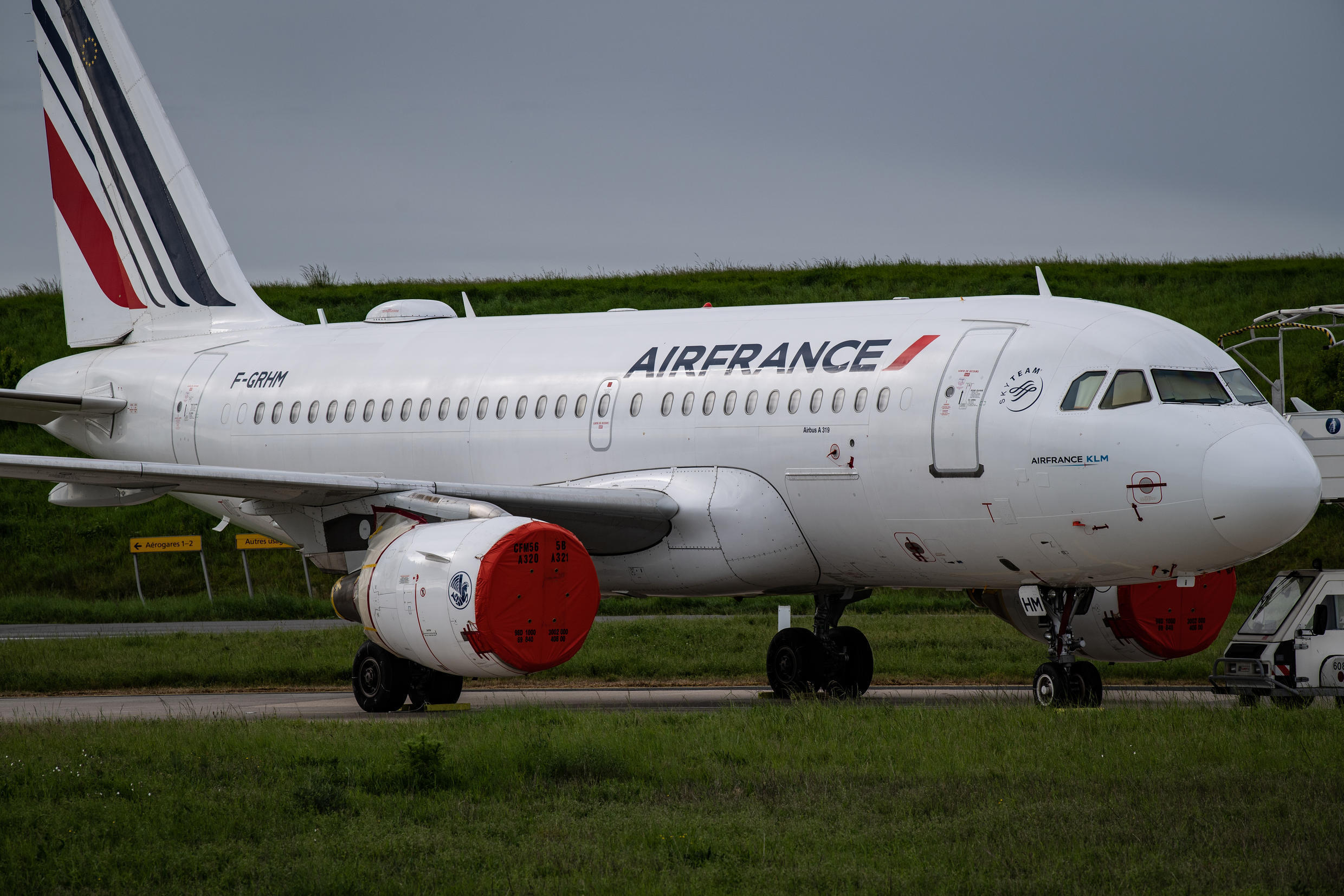 An Air France plane is pictured on the tarmac at Charles de Gaulle airport near Paris on April 30, 2020.