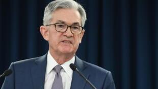 El presidente del banco central estadounidense (Fed), Jerome Powell, durante una rueda de presna, el 3 de marzo de 2020 en Washington